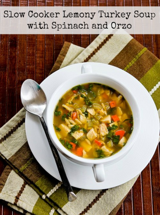 Slow Cooker Lemony Turkey Soup with Orzo and Spinach from Kalyn's ...