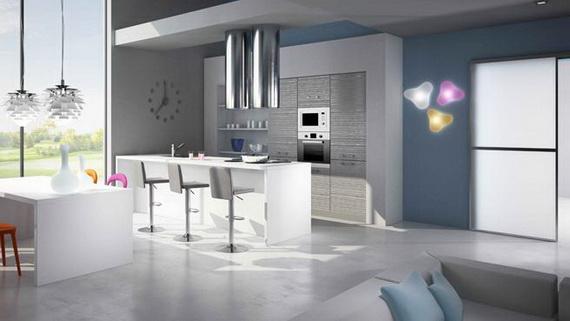 decoration cuisine gris et bleu