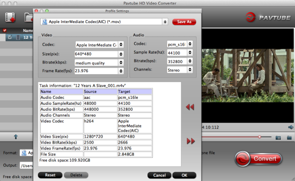 iMovie AIC video settings