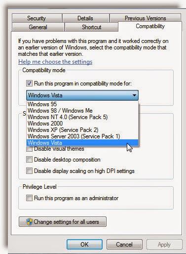 Make program run in compatibility mode in Windows 7 | 8