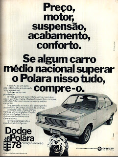 propaganda Dodge Polara - 1978; Chrysler; brazilians car in the 70s; reclame de carros anos 70. brazilian advertising cars in the 70. os anos 70. história da década de 70; Brazil in the 70s; propaganda carros anos 70; Oswaldo Hernandez;