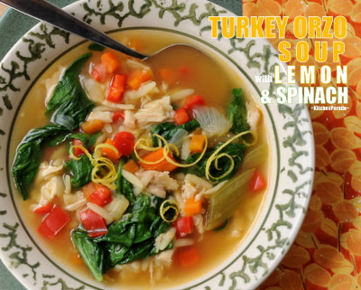 Turkey Orzo Soup with Lemon & Spinach, a hearty mix of cooked turkey, pasta and vegetables brightened with lemon, perfect for spring ~ Weight Watchers PointsPlus 4 ~ KitchenParade.com