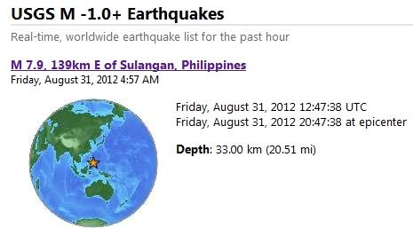 magnitude 7.9 quake samar philippines august 31 2012