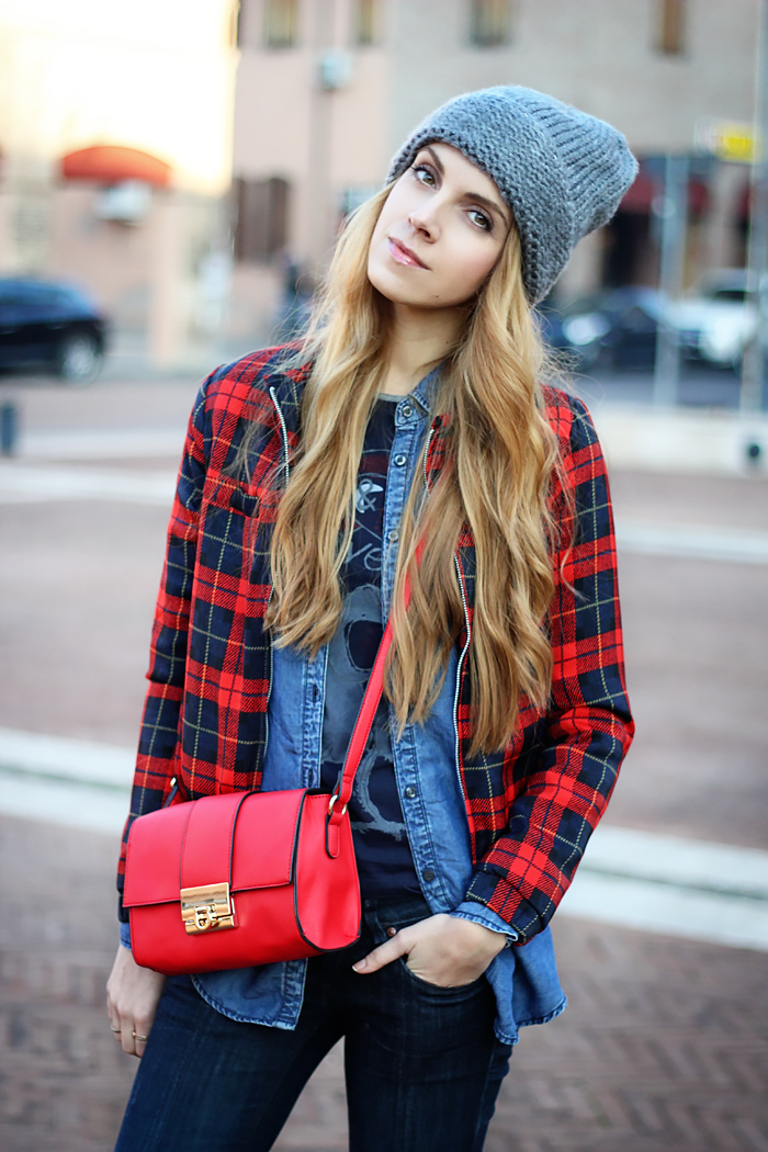 denim on denim, tartan bomber jacket, oversized beanie, red bag, outfit