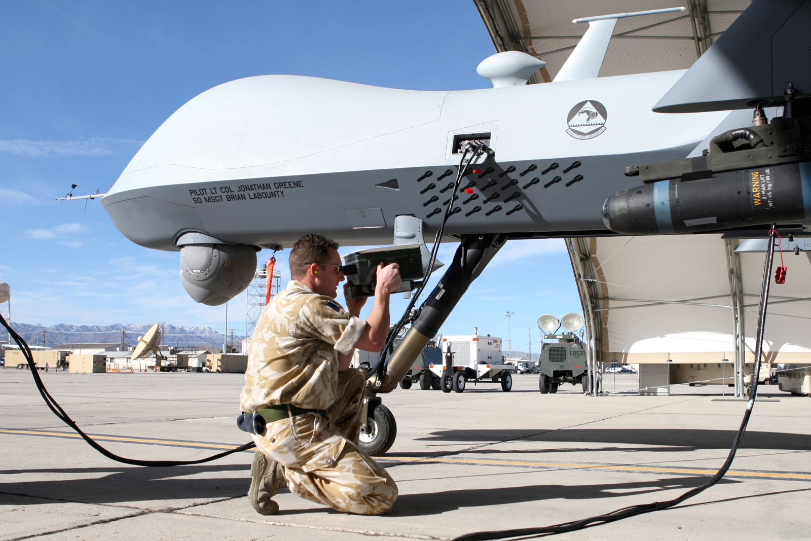 mq 1b predator drone with General Atomics Mq 9 Reaper on 4 Keeping Track Of The Drones as well Mq 1c Gray Eagle Predator further General Atomics MQ 1 also Mq 9 Reaper Mq 9 Drone  bat Usa Army Landing 310 likewise Creech Sukhoi.