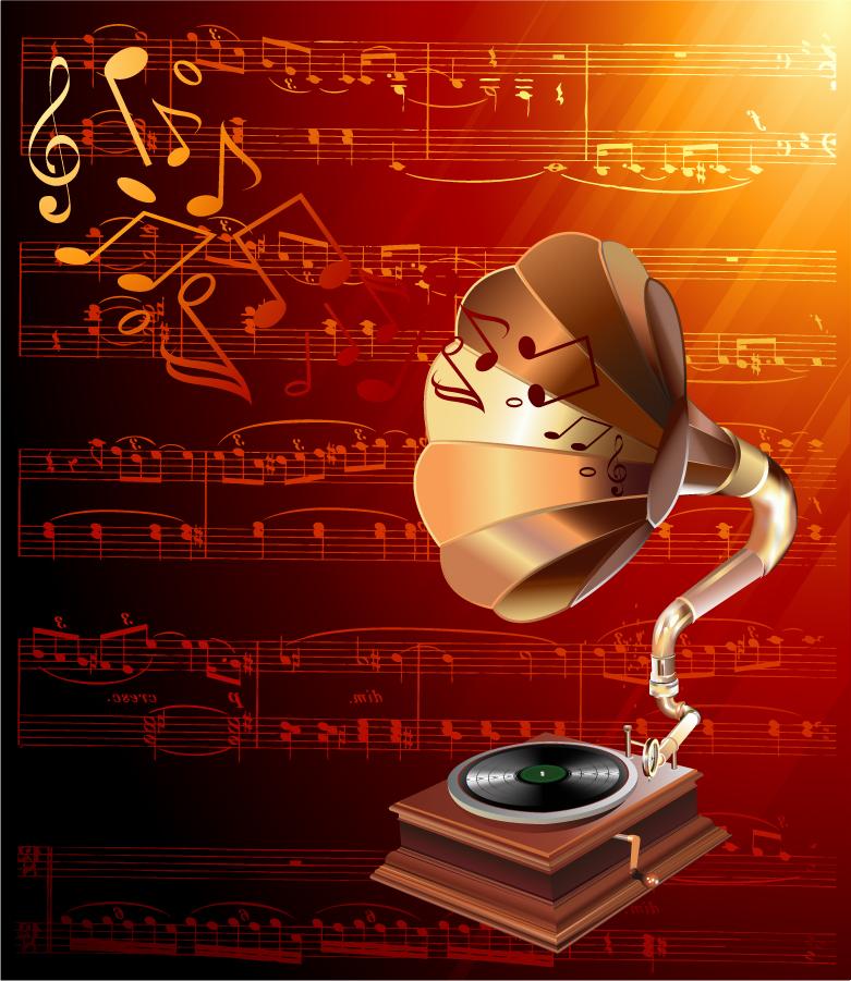 金色の音符を奏でる蓄音機の背景 gorgeous classical music background イラスト素材