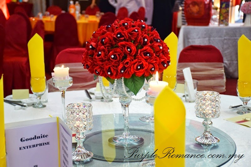 VIP Table Centerpiece, Red Roses, strand of pearls, crystal candle holder, glass candle holder stand, reception table decoration, decor, goodnite, company, annual dinner, anniversary, award night, thumb print tree, selangor, klang utama, kuala lumpur, wedding, setup, registration table, dragon garden seafood restaurant