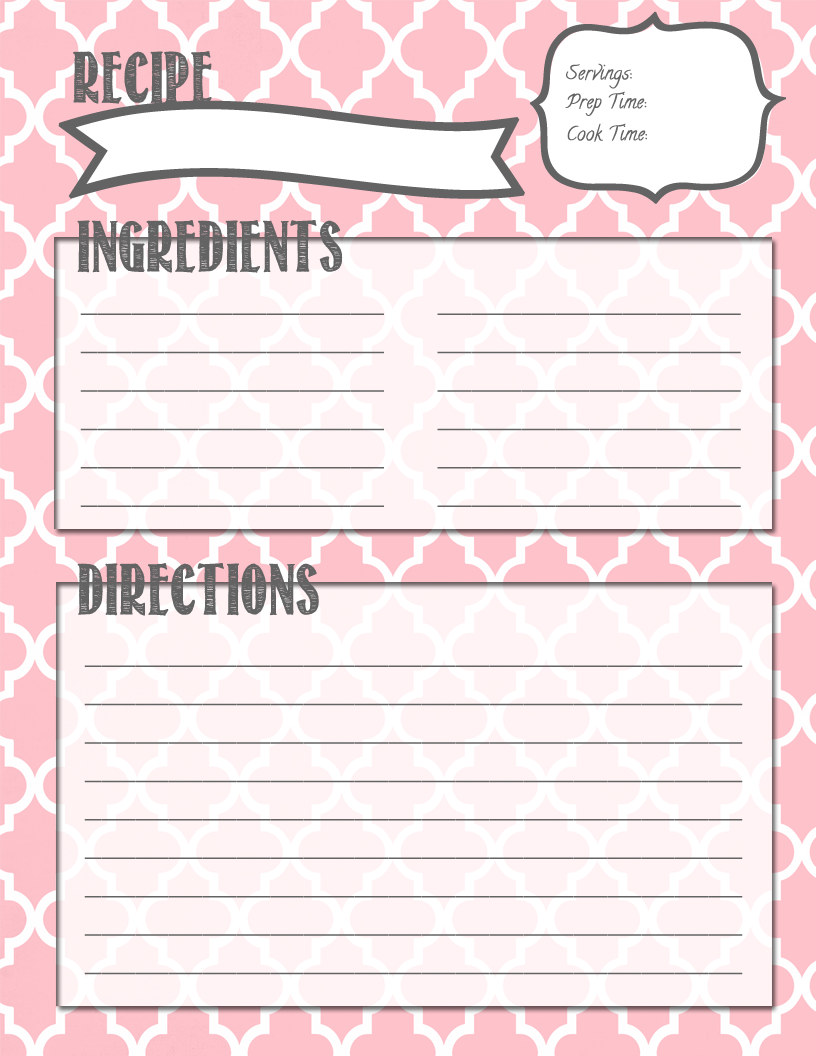 Melanie Gets Married: Recipe Binder Printables