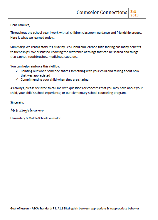 Letter Of Counseling Example
