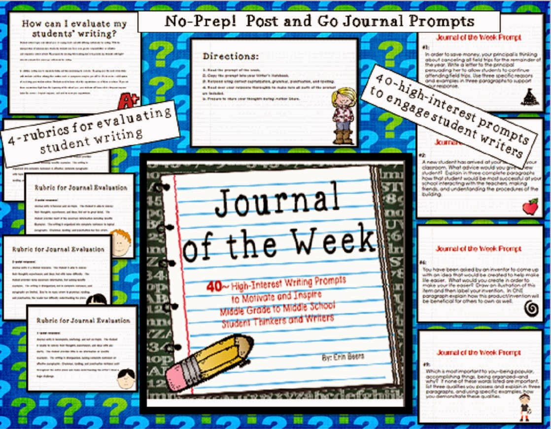 http://www.teacherspayteachers.com/Product/Journal-of-the-Week-for-Middle-Grades-to-Middle-School-863995
