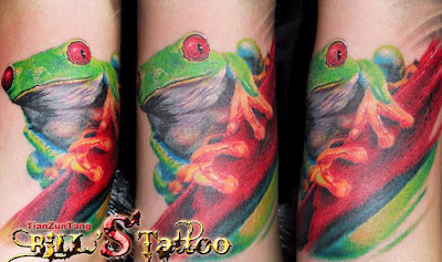 colorful frog tattoo design