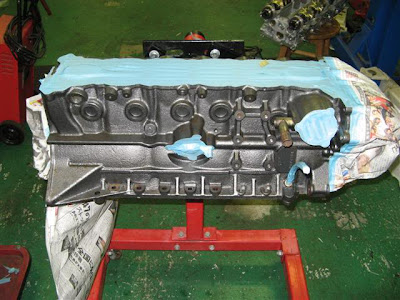 Engine block paint prep