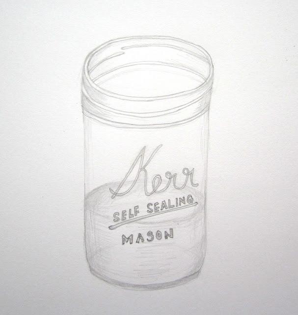 Mason Jar Pencil Drawing Mason Jar Pencil Drawing