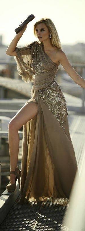 French beige Colored One Shoulder Maxi Dress
