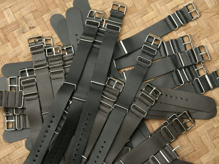 (For Sale) Nato Leather Strap 18, 20 dan 22 mmm Black and Brown