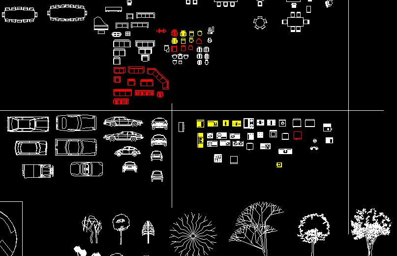 Bloques autocad mobiliario coches vegetacion formato for Mobiliario oficina dwg