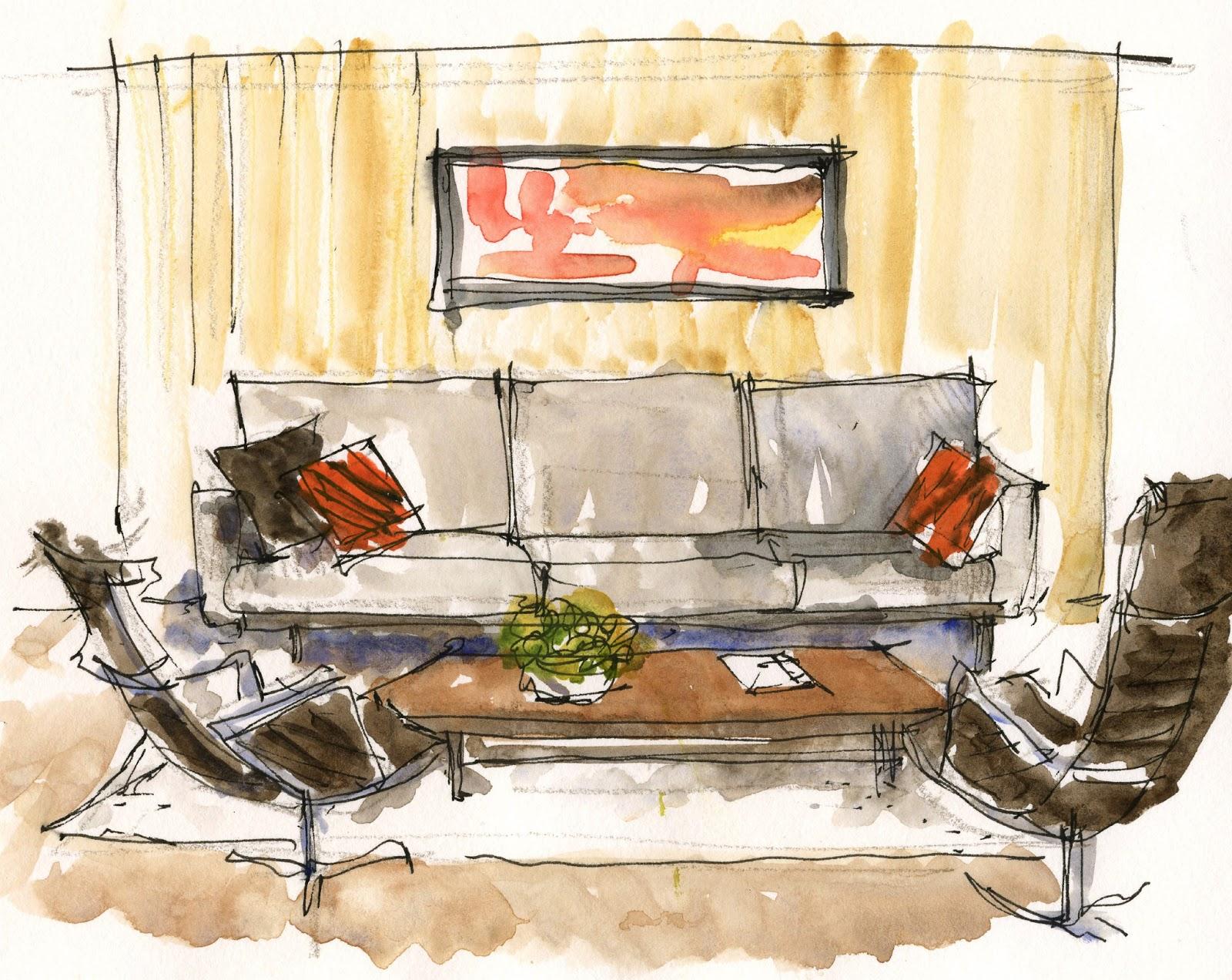 Living Room Sketching Watercolor