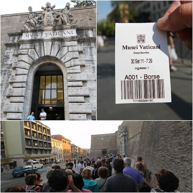 A huge crowds begin to form a long line at the entrance of Musei Vaticani (Vatican Museum) early in the morning in Rome, Italy