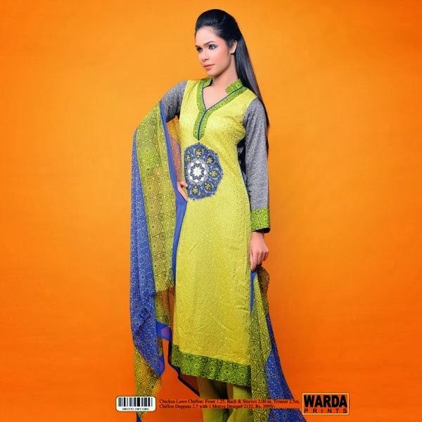 Pakistani Dresses Two Color Lawn Designs 2014