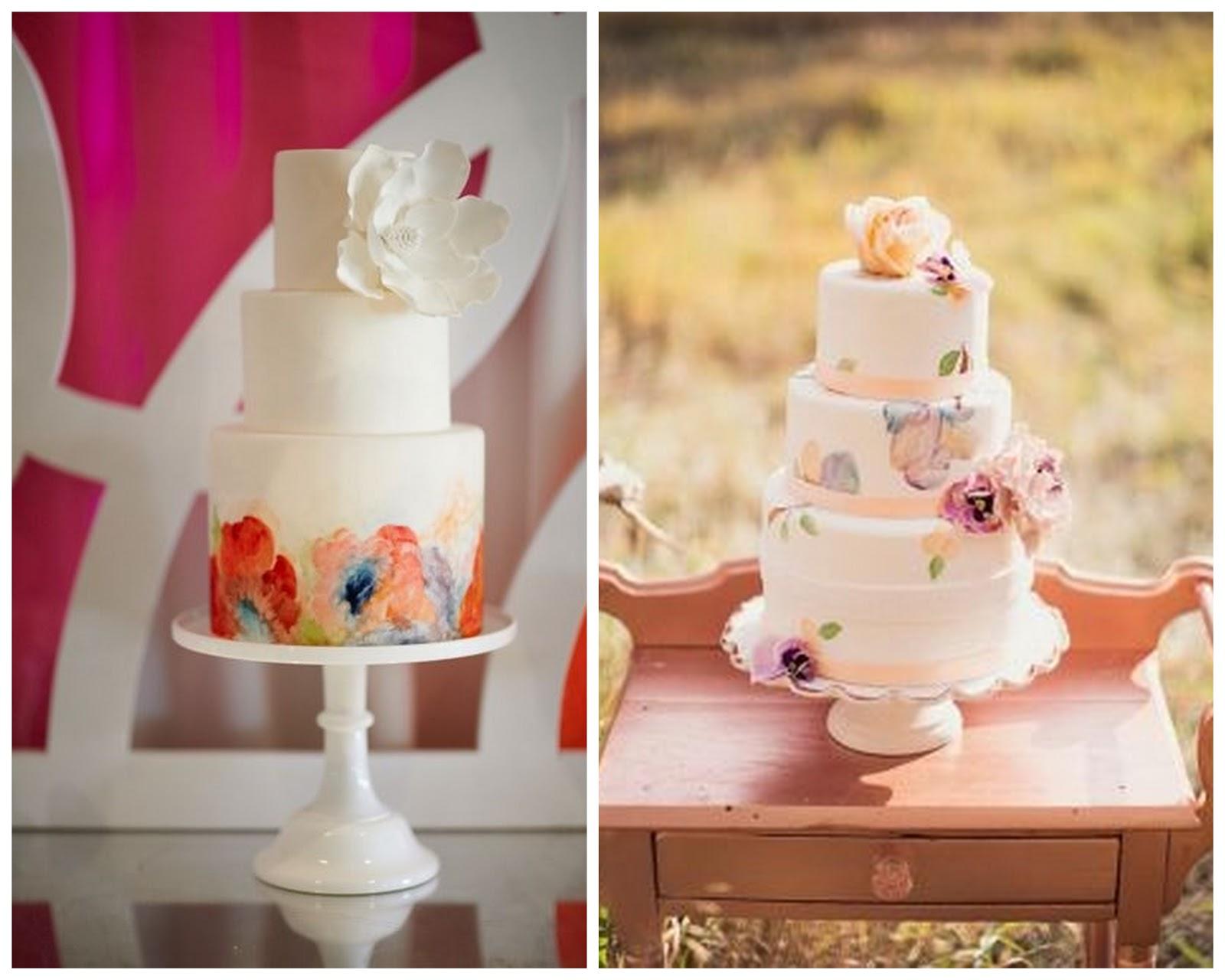 Свадебный торт с акварельной росписью. Рецепты и идеи 13