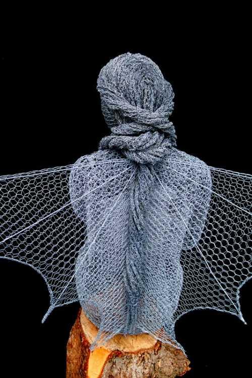 Derek Kinzett esculturas feitas de arames Detalhe do cabelo de Serenidade