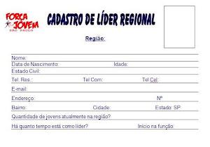 CADASTRO DE LÍDER REGIONAL.
