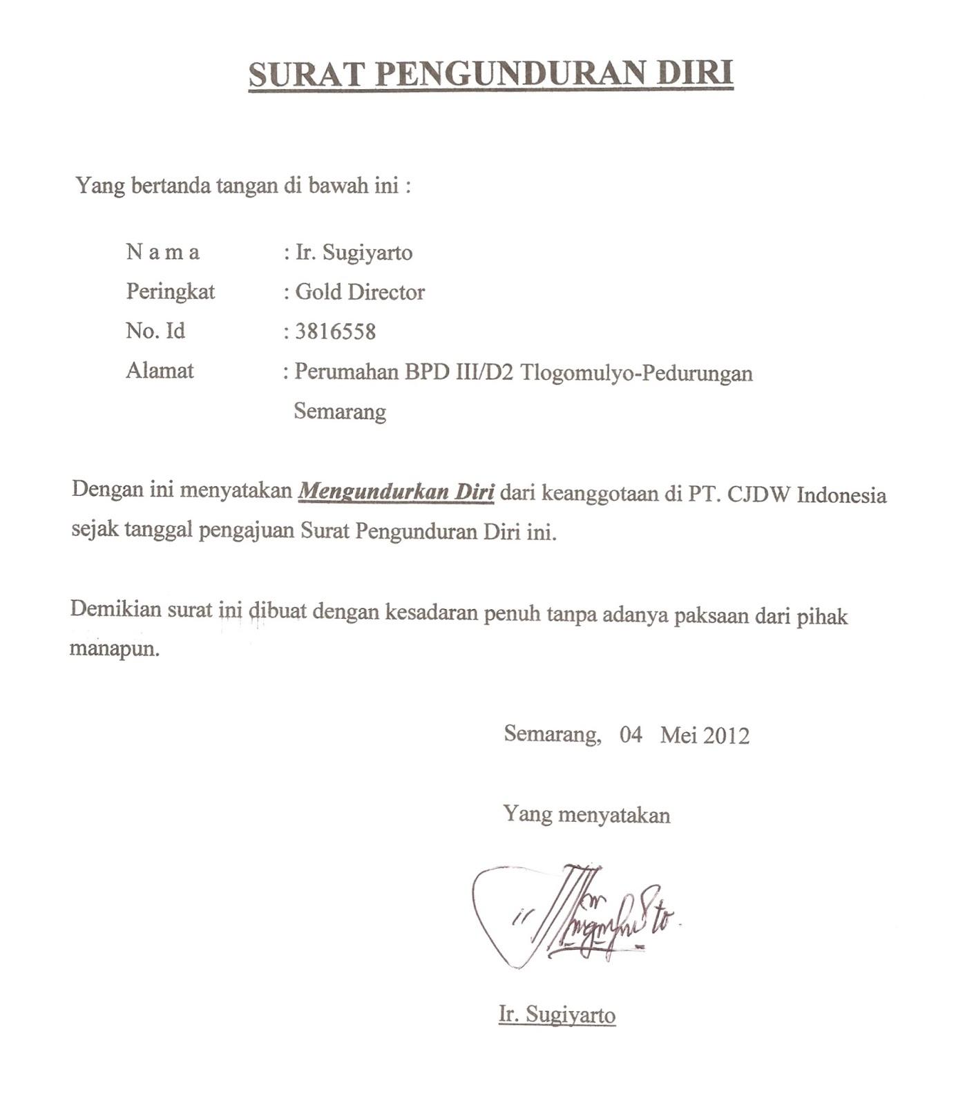 Contoh Surat Pengunduran Diri Direktur Cv Contoh Random