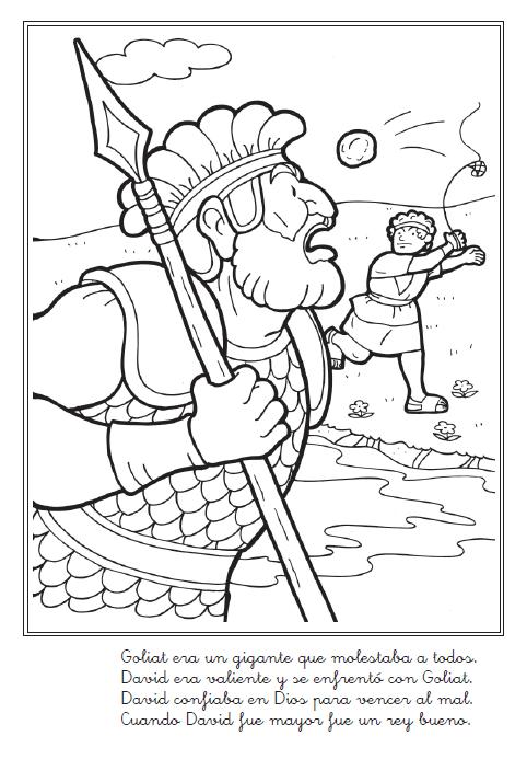 Historia bíblica de David y Goliat para colorear ~ Mi vida sin ...