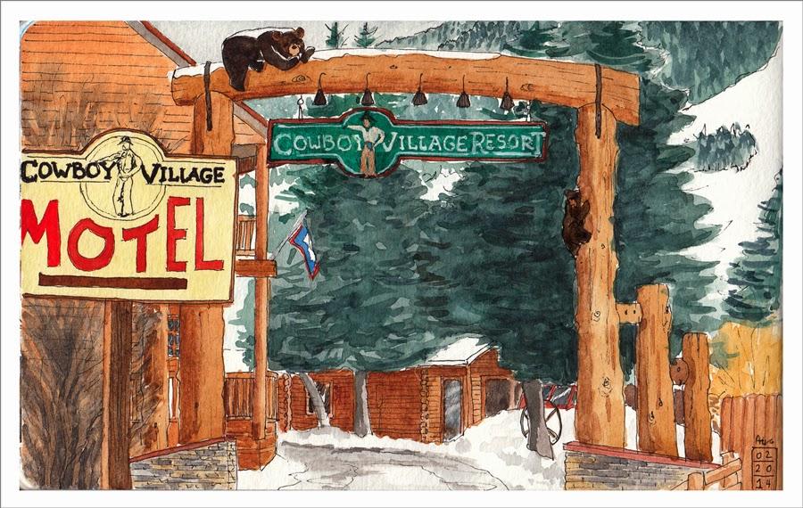 entrance of cowboy village resort