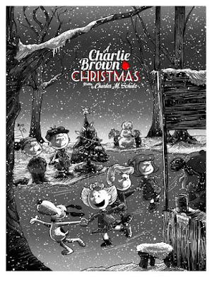 A Charlie Brown Christmas Metallic Variant Screen Print by Tim Doyle x Ridge Rooms x Dark Hall Mansion