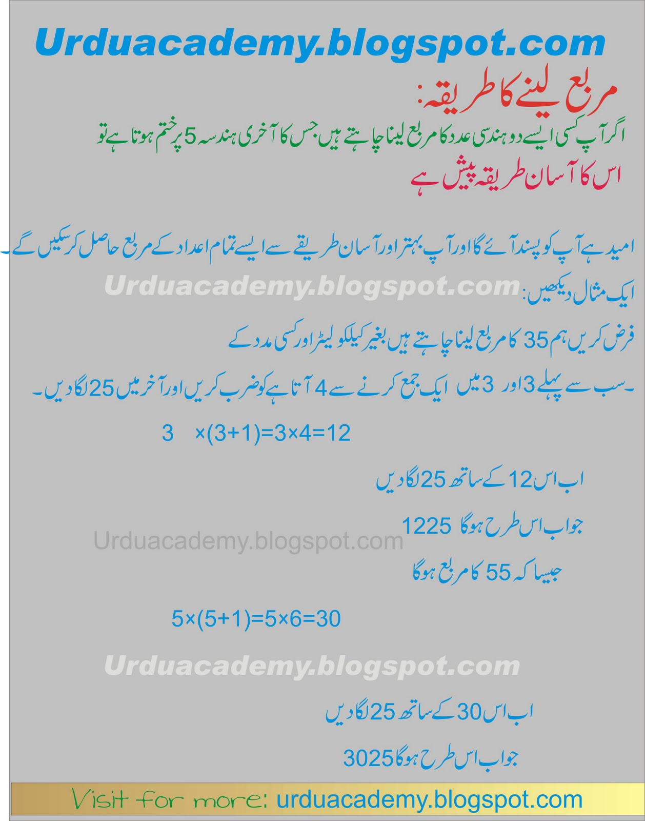Math Tricks in Urdu ~ Online Academy