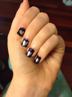 Purple silver heart nail art 31 days of nail art challenge day 6: purple nails