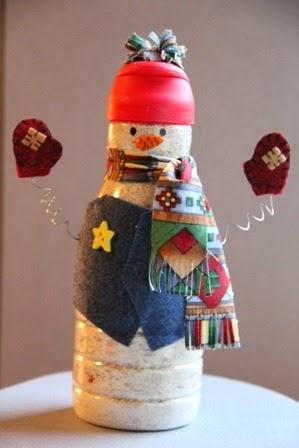 Muñecos de Nieve con Materiales Reciclados