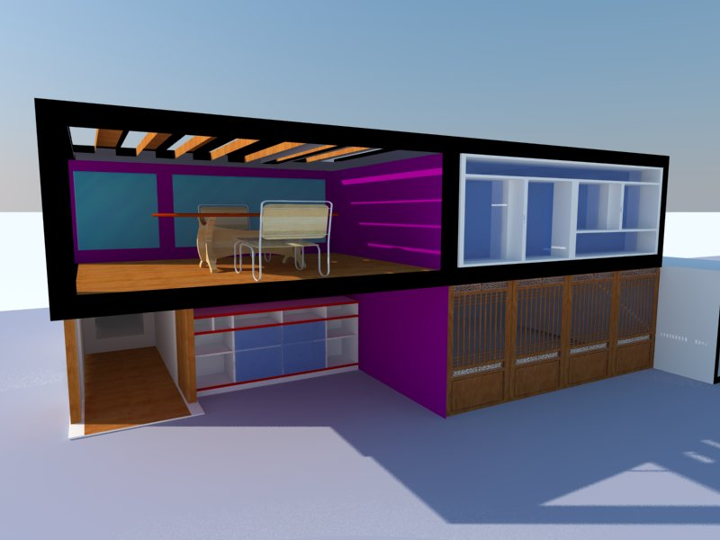 3d modern house in sketchup portfolio website for Modern house website
