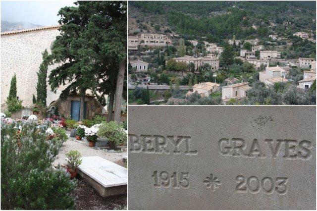 Cementerio en Deia, Mallorca – Vistas sobre Deia – Tumba de Beryl Graves, esposa del escritor Robert Graves