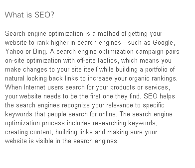 Organic search engine optimization or SEO is the process of improving the traffic towards your website by making it more prominent in search engine results using specific targeted keywords.