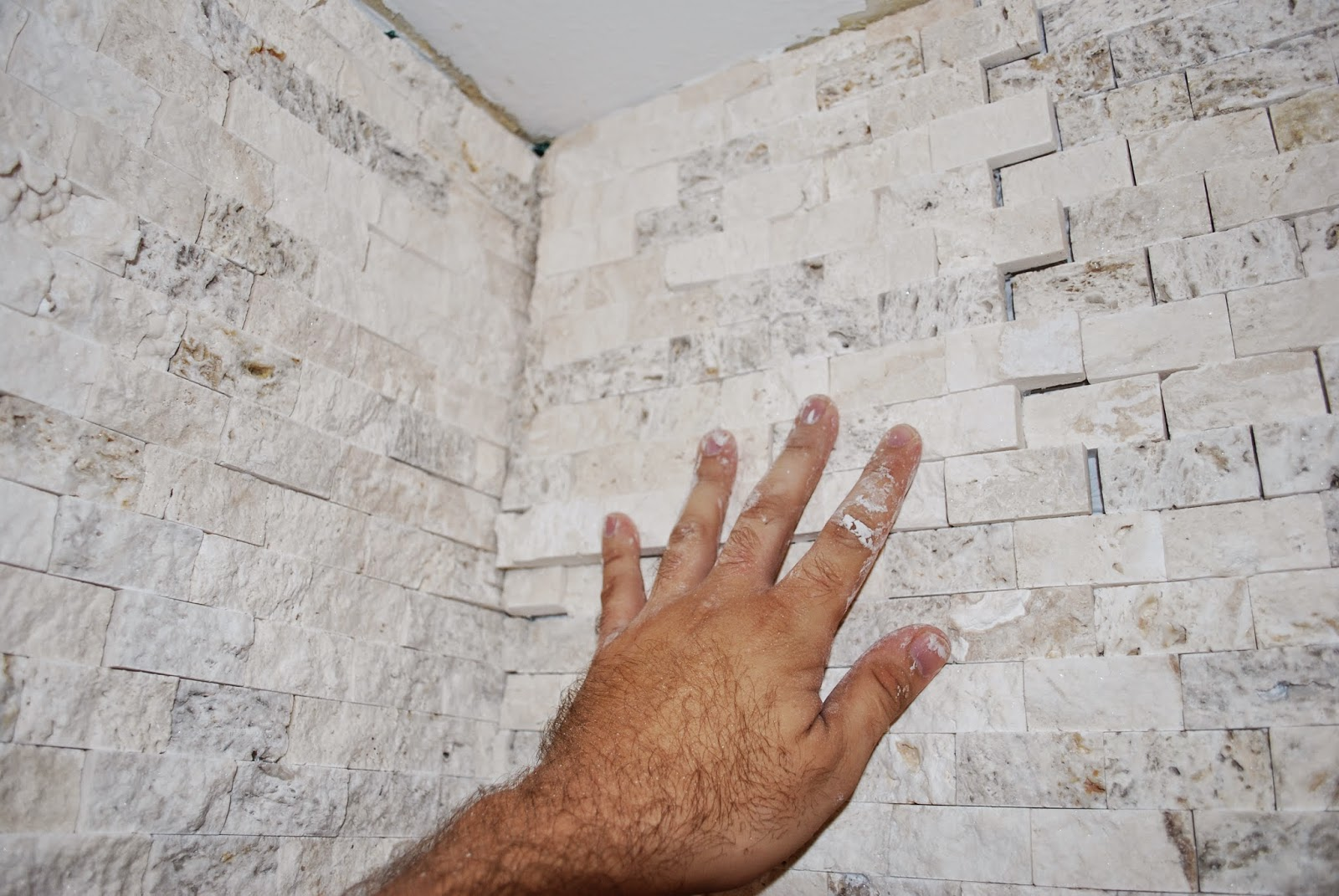 check stacked stone tile in shower
