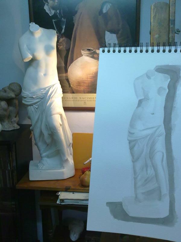 dibujo y modelo de la venus