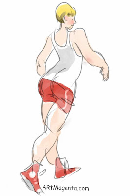 Powerwalking is a gesture drawing by artist and illustrator Artmagenta finger painted on an iphone