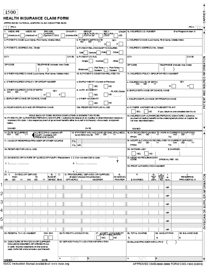 medicare claim form instructions