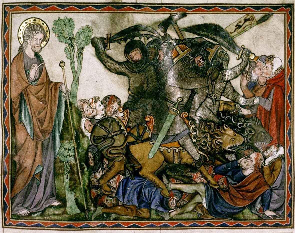 """""""Será o extermínio e a ruína das nações bárbaras e dos hereges pelo poderoso Monarca"""". The DouceApocalypse, Bodleian Library, 180_roll196T"""