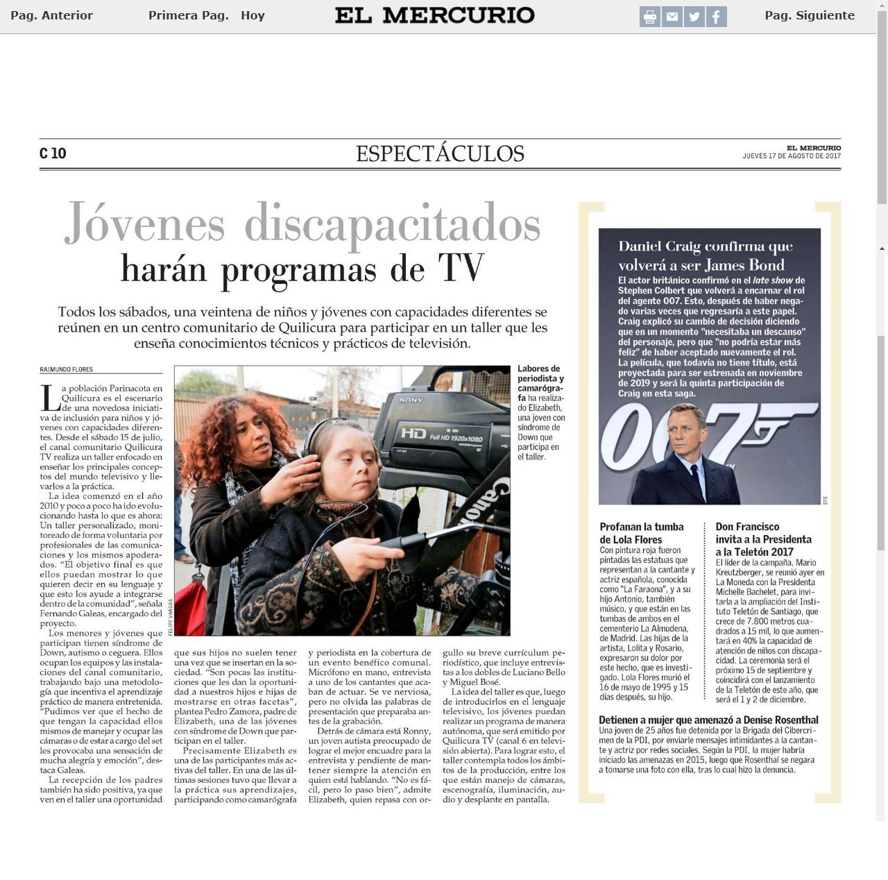 EL MERCURIO Publicó una nota de los talleres de TV para personas con discapacidad de Quilicura TV