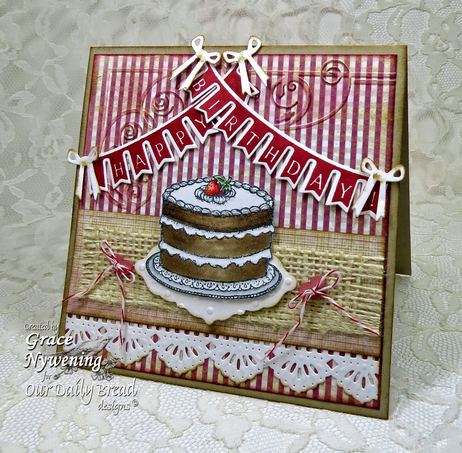 ODBD stamps: Pennant Swag 2, Cake Single, designed by Grace Nywening