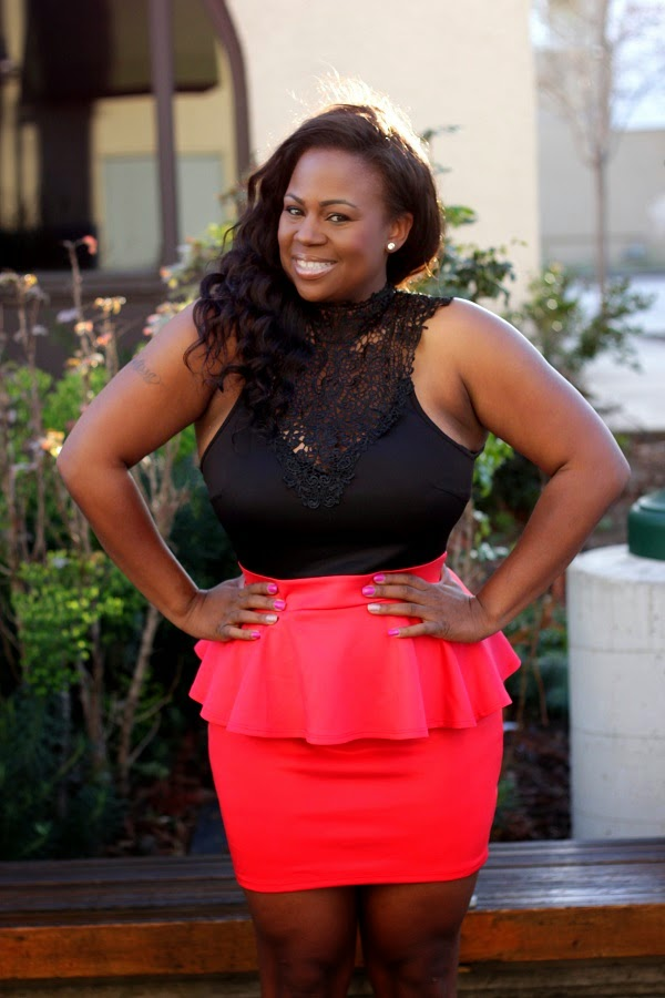 Black lace top pink peplum skirt dress Black Plus Size Fashion Blogger Melissa Geddis