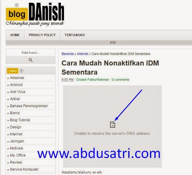 "Cara Mengatasi Pesan eror DNS ""Unable to resolve the server's DNS address"""