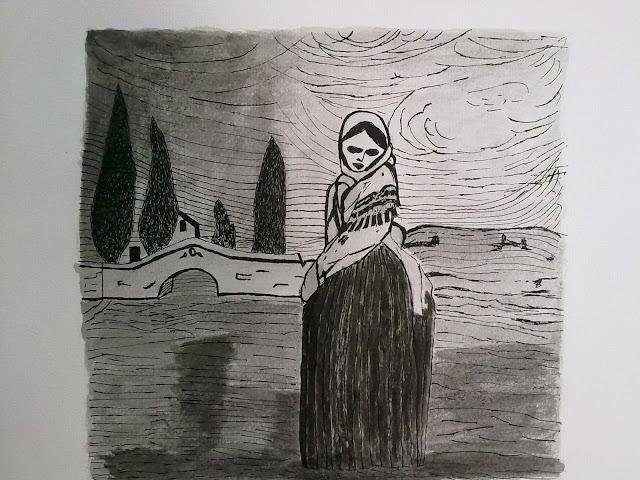 dibujo a tinta Julia
