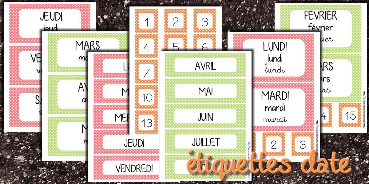 La maternelle de laur ne les tiquettes dates for La table de laurene