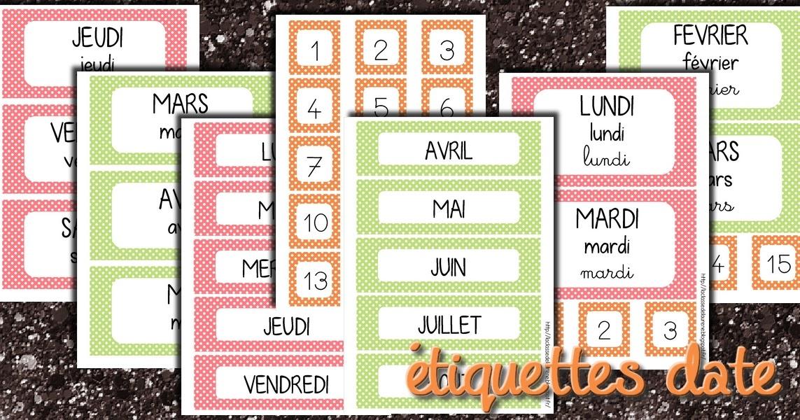 Populaire La maternelle de Laurène: Les étiquettes dates BC38