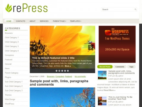 Free rePress - Attractive Yet Simple WordPress Theme