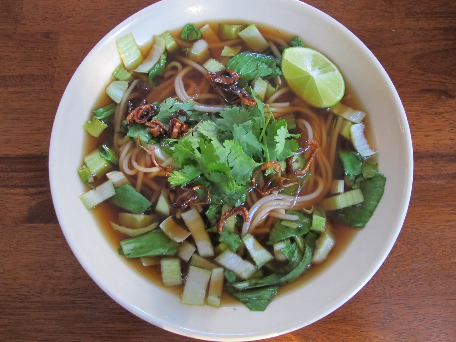 Quick Bok Choy Pho with Pork Rib Stock
